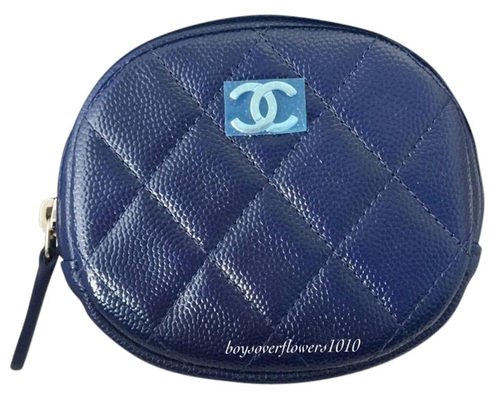 1126ededcdcb Chanel NIB Navy Blue Quilted Caviar Round O Coin Purse Case Holder Wallet  SHW Image 0 ...