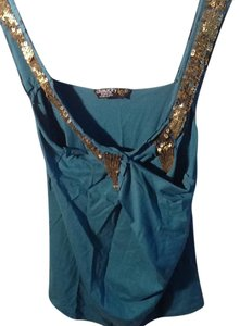 Chaudry Top Teal and Gold