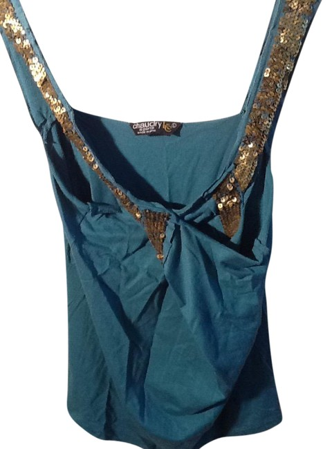 Item - Sequined Teal and Gold Top