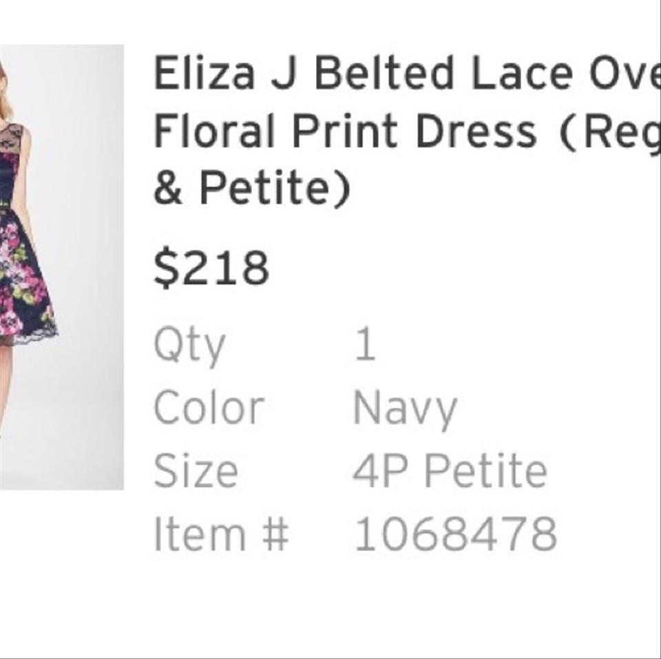 b07a311beec7 Eliza J Navy Belted Lace Overlay Print Mid-length Cocktail Dress ...