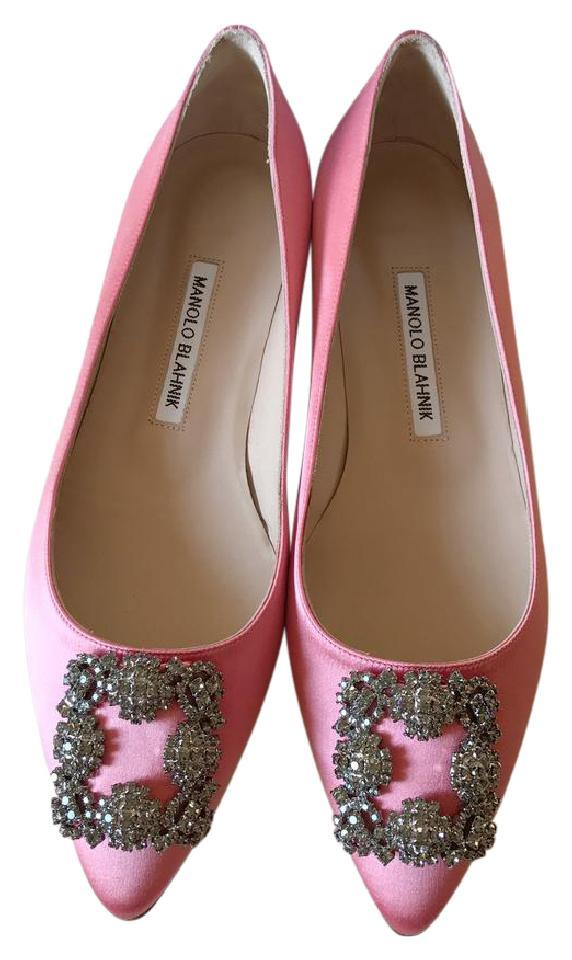 b66d1059c964 Manolo Blahnik Pink Satin 38.5 Hangisi Jeweled Crystal-buckle Ballet Flats