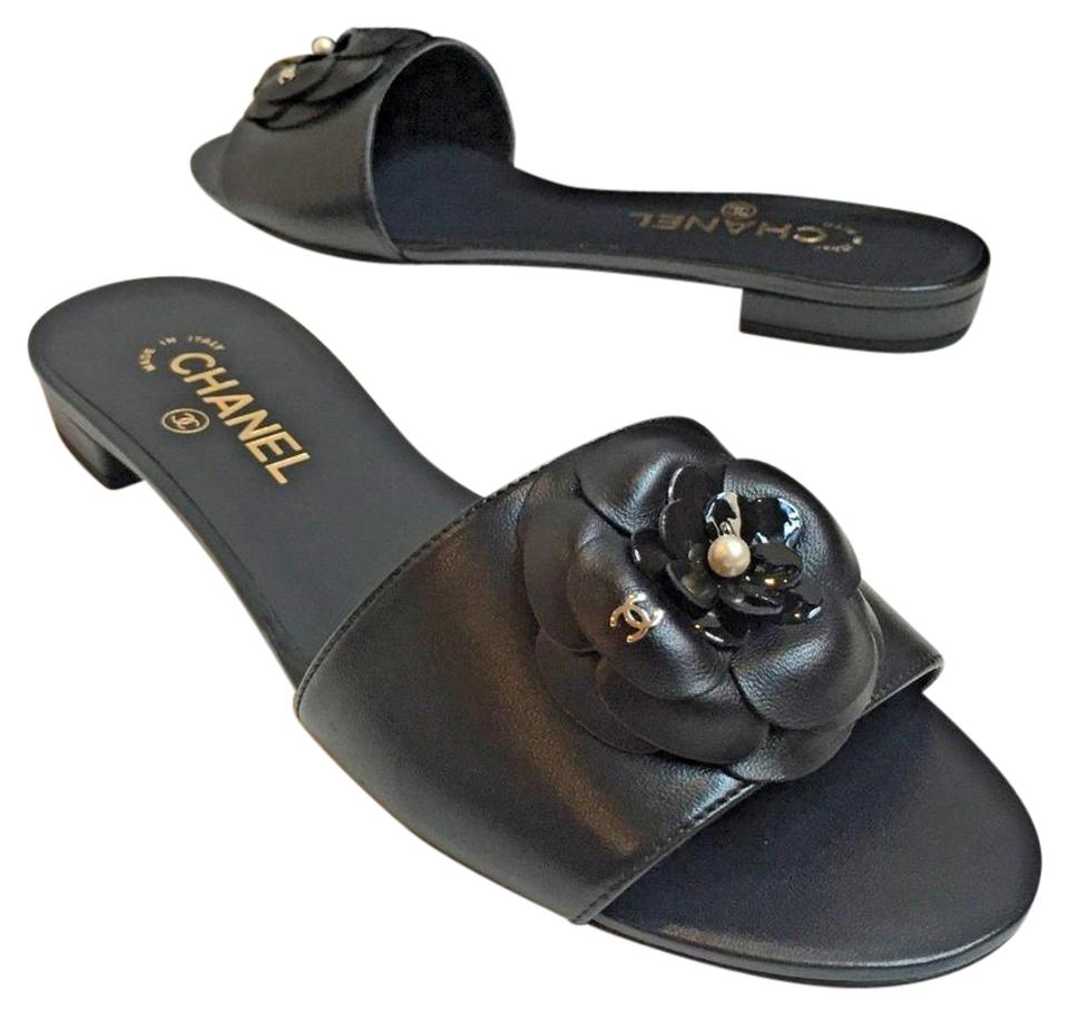 a0f1649196e Chanel Black Camellia Leather Cc Pearl Mule Slide Flats Sandals Size ...