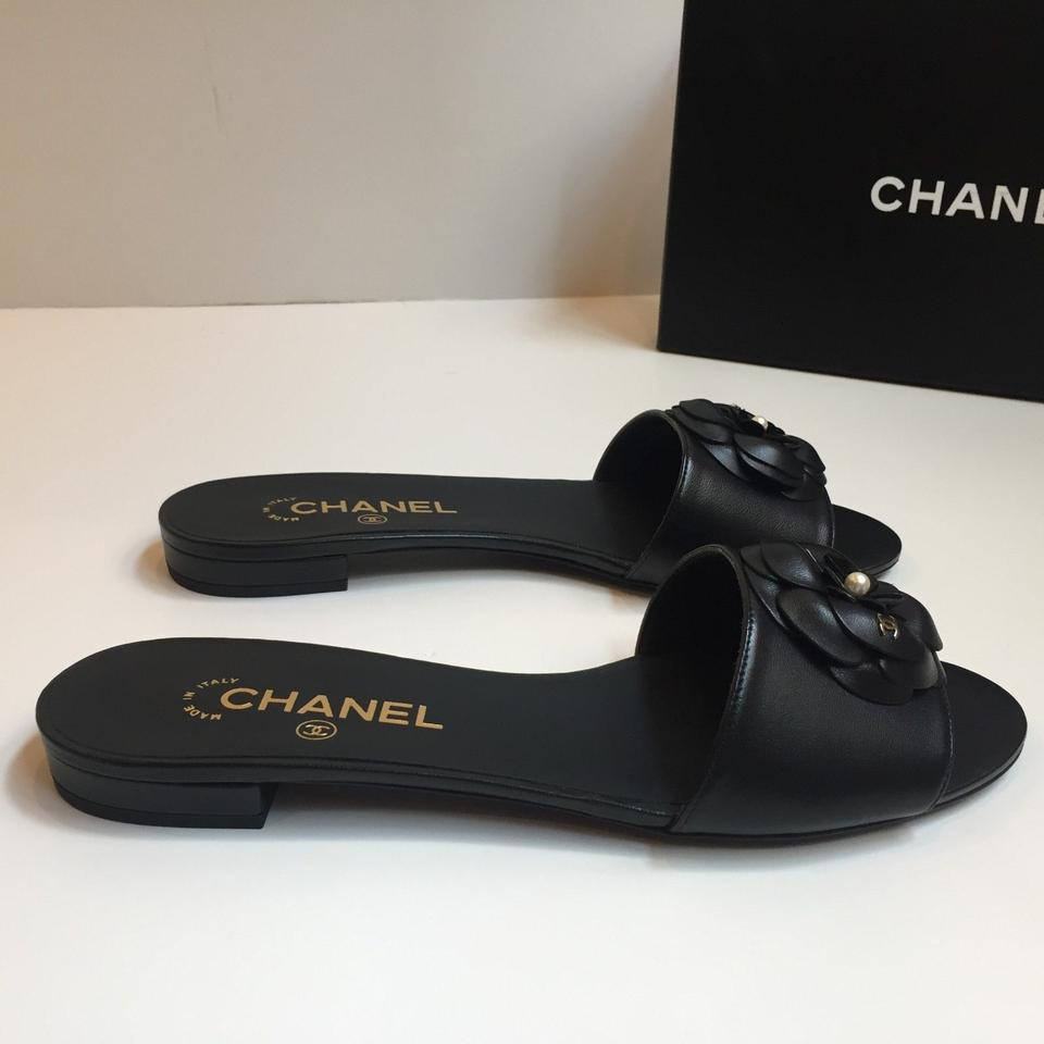 211e3cd76ca5 Chanel Black Camellia Leather Cc Pearl Mule Slide Flats Sandals Size ...
