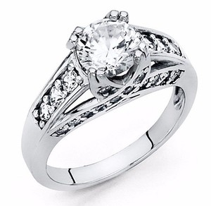 White Gold 2 Ct Round Cut Solid 14k Engagement Ring