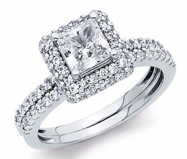 Item - White Gold Square Princess Cut Engagement Ring 14k S 7 Women's Wedding Band Set