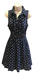 bailey blue short dress navy blue with white polka dots on Tradesy