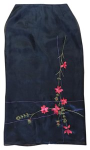 Clio Embroidered Silk Floral Skirt black