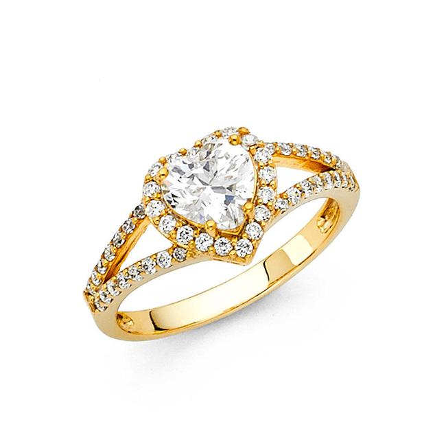 Item - Yellow Gold 1.90 Ct Heart Shape Solid 14k Engagement Ring