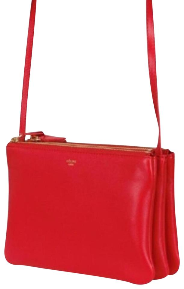 92a3808500c4 Céline Trio Small In Poppy Red Lambskin Leather Cross Body Bag - Tradesy