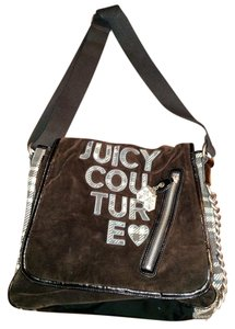 Juicy Couture Large Ladies Cross The Body Deep brown with white, green, blue and black Messenger Bag