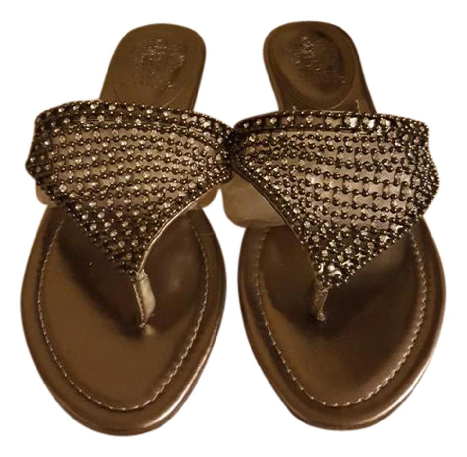 8cfa927d9 Vince Camuto Light Bronze Rhinestone and Bead Flat Sandals Size US ...