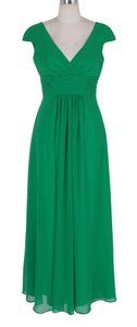 Green Long Elegant Pleated Waist Mini Sleeves Formal Dress Dress
