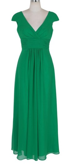 Green Chiffon Long Elegant Pleated Waist Mini Sleeves Formal Bridesmaid/Mob Dress Size 8 (M)