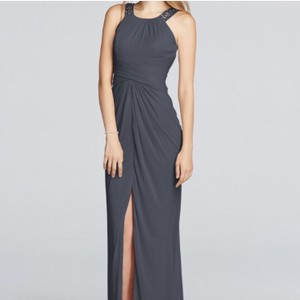 David's Bridal Pewter/Dark Gray Long Beaded W/ Ruched Waist Formal Bridesmaid/Mob Dress Size 8 (M)
