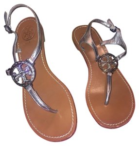 Tory Burch Hardware Thong Pewter Silver Metallic Sandals