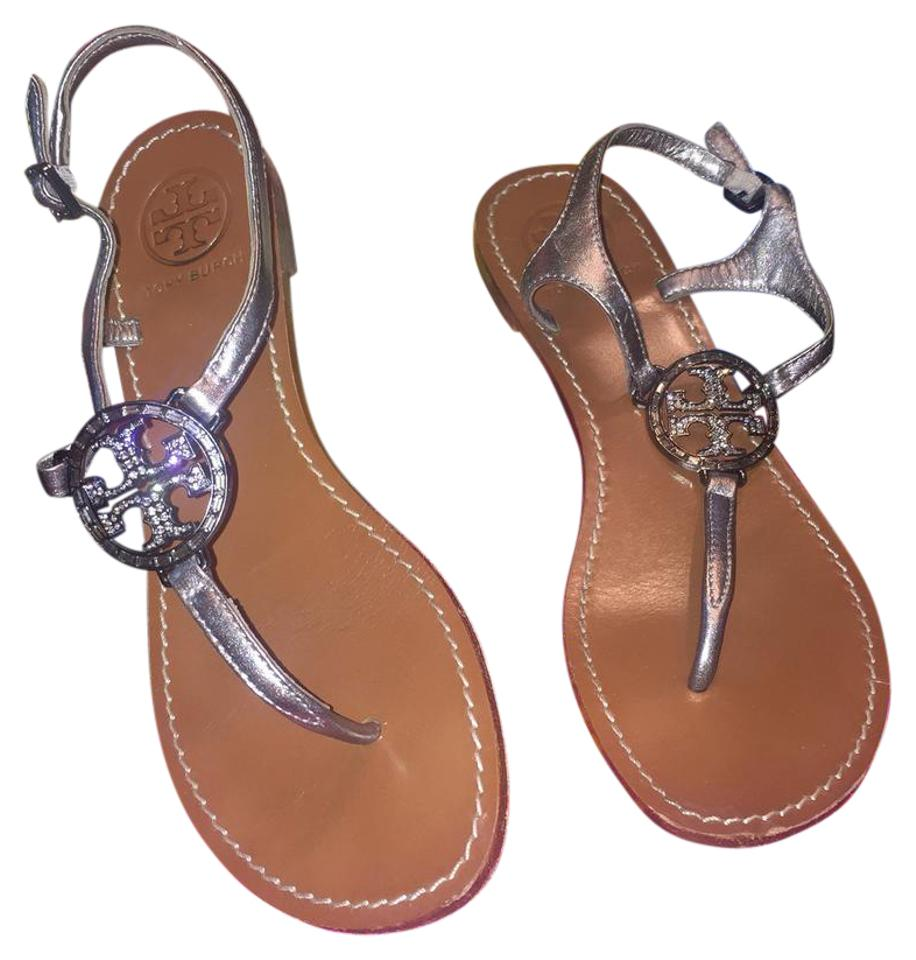 2ba51e91545c Tory Burch Pewter Silver Metallic Violet Thong Sandals. Size  US 7 ...