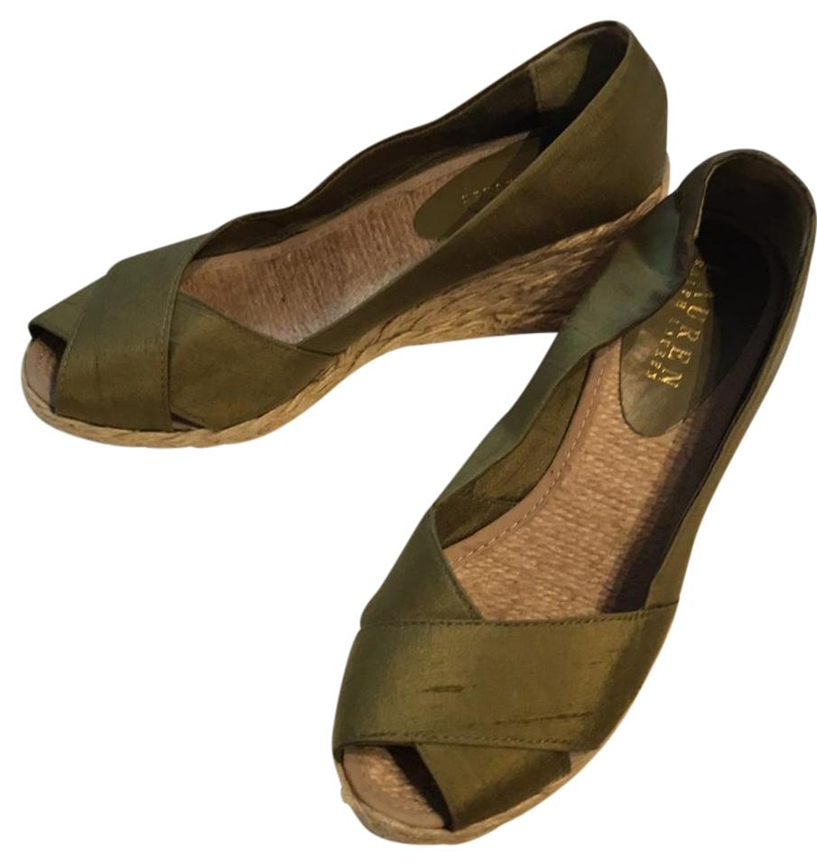 e01c75bba6a Ralph Lauren Green Cecilia Womens B Olive Open Toe Wedge Sand Pumps ...