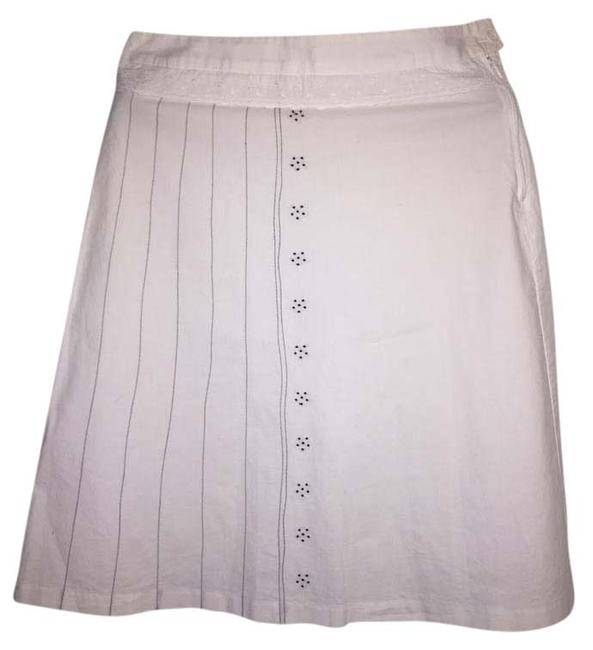 Item - White with Navy Blue Detail Skirt Size 8 (M, 29, 30)