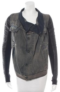 Rick Owens Distressed Leather Sleeves Jean Denim Jacket