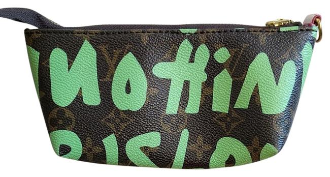 """Item - Monogram with Lime Green Graffiti. Clutch Louis Vuitton """"Inspired"""" Makeup Or Small Clutch. Cosmetic Bag"""