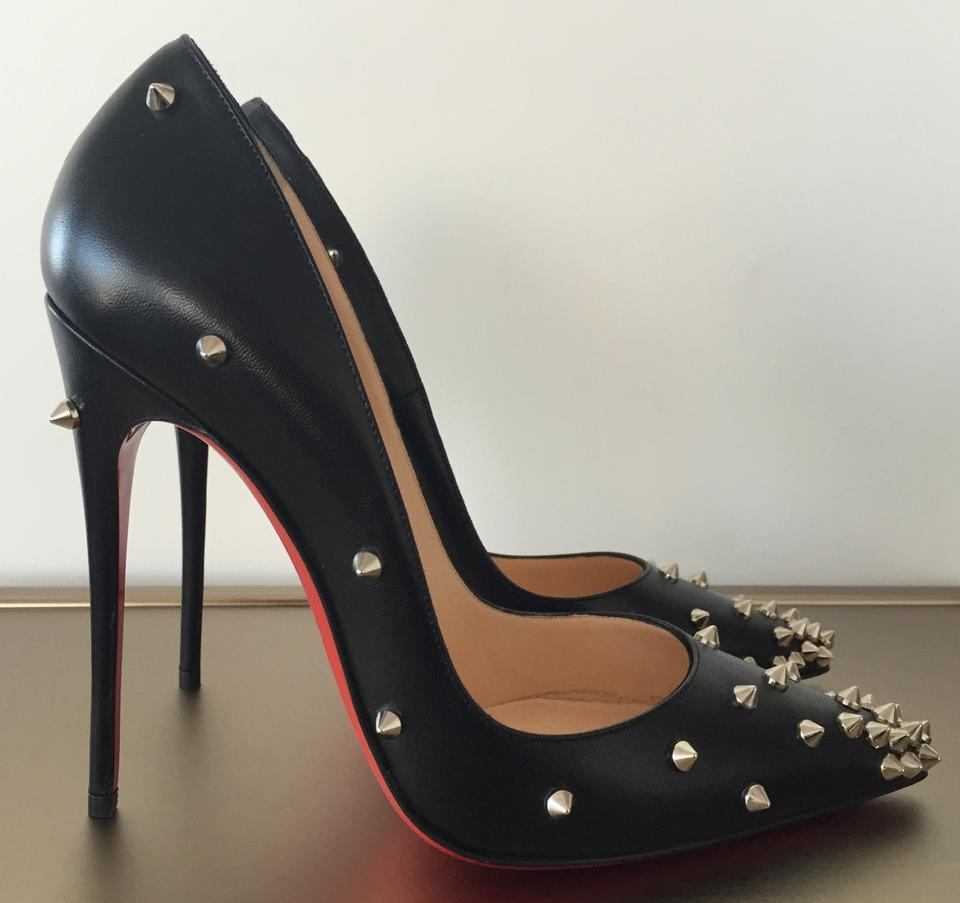8bed0e36e8c Christian Louboutin Black Classic Degraspike 120mm Leather Silver Studded  Spikes Sz. 37 Euro Pumps Size US 7 Regular (M