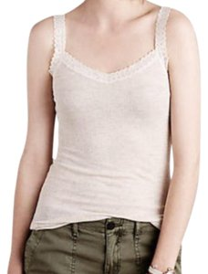 Anthropologie Lace Detailing Ribbed Fabric Cool + Comfy Super Quality Versatile Top Sand