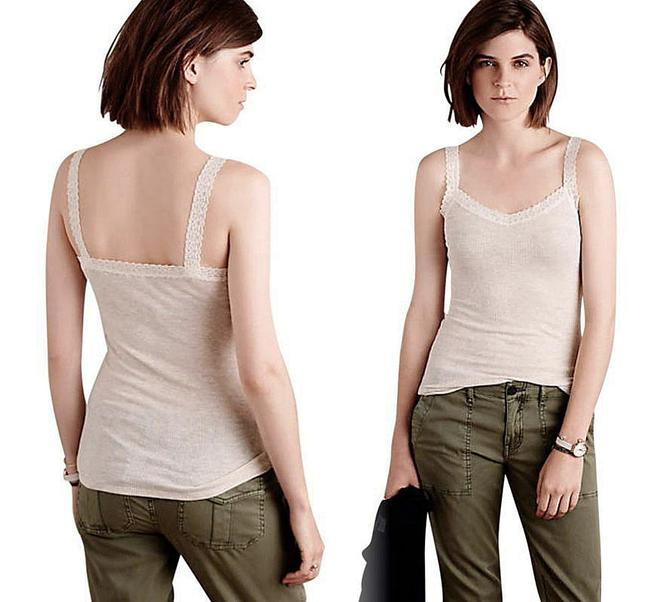 Anthropologie Lace Detailing Ribbed Fabric Cool + Comfy Super Quality Versatile Top Sand Image 1