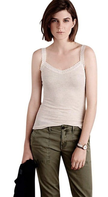 Anthropologie Lace Detailing Ribbed Fabric Cool + Comfy Super Quality Versatile Top Sand Image 3