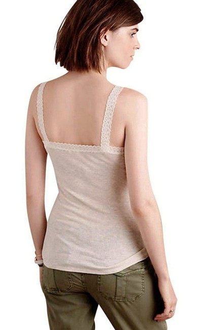 Anthropologie Lace Detailing Ribbed Fabric Cool + Comfy Super Quality Versatile Top Sand Image 4
