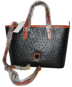 Dooney & Bourke Brandy Crossbody Ostrich Satchel in Black