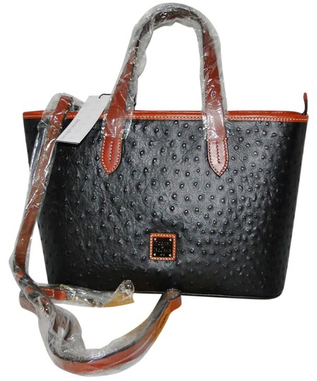 Preload https://img-static.tradesy.com/item/21911082/dooney-and-bourke-ostrich-brandy-black-leather-satchel-0-1-540-540.jpg