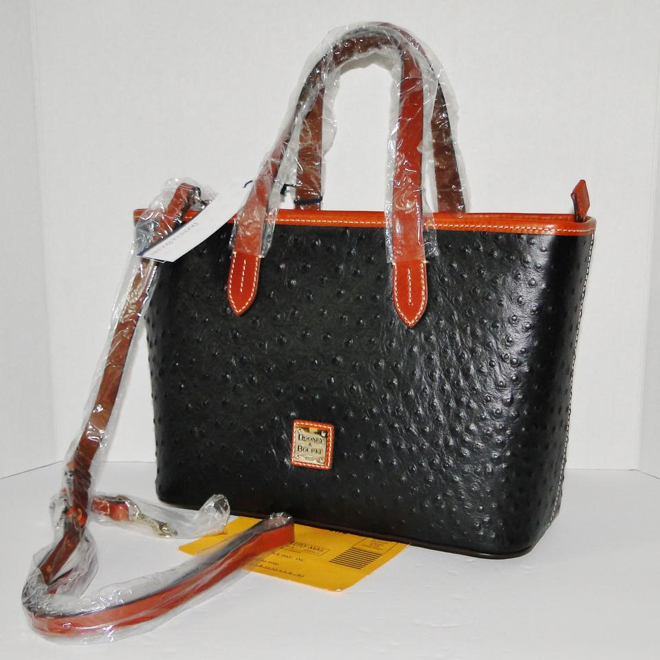 15c7767dc20 Dooney   Bourke Ostrich Brandy Black Leather Satchel - Tradesy