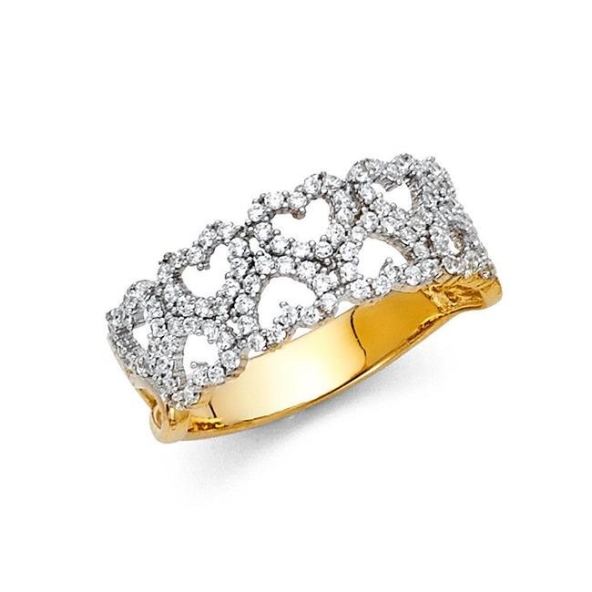 Item - Yellow Gold 14k Solid Heart Ring Fancy Ring Women's Wedding Band