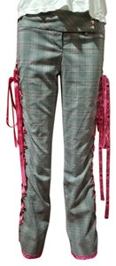 Tracy Evans Rockstar Skullandcrossbones Plaidpants Tracyevanslimited Wide Leg Pants Gray/Pink