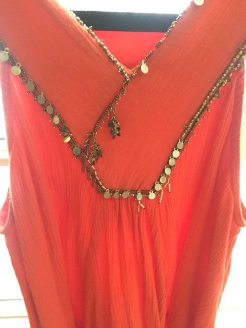 Free People short dress Orange Bollywood India Beads Sequins Flowy Small High Neck Shift on Tradesy