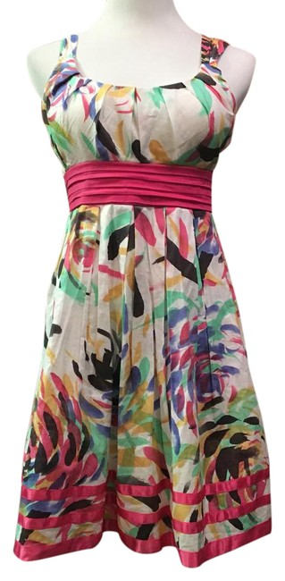 Preload https://img-static.tradesy.com/item/21911511/city-triangles-pink-white-empire-waist-belted-floral-mid-length-short-casual-dress-size-10-m-0-1-650-650.jpg