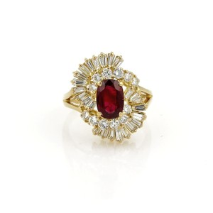 Other Estate 2.65ct Diamond & Ruby 18k Yellow Gold Fancy Cocktail Ring