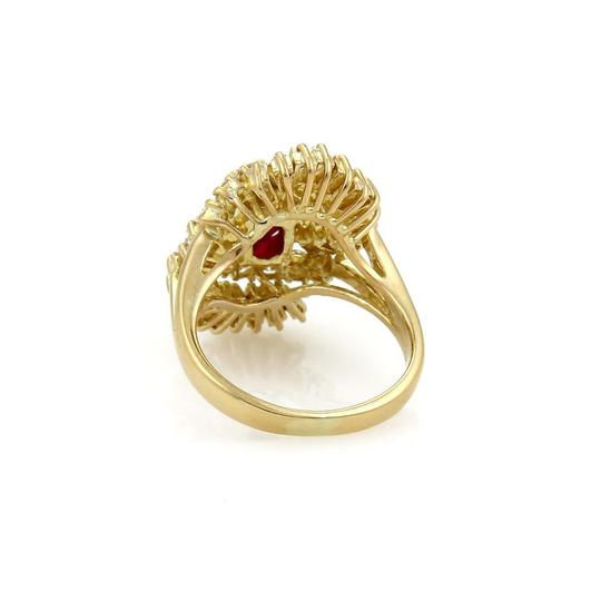 Other Estate 2.65ct Diamond & Ruby 18k Yellow Gold Fancy Cocktail Ring Image 2