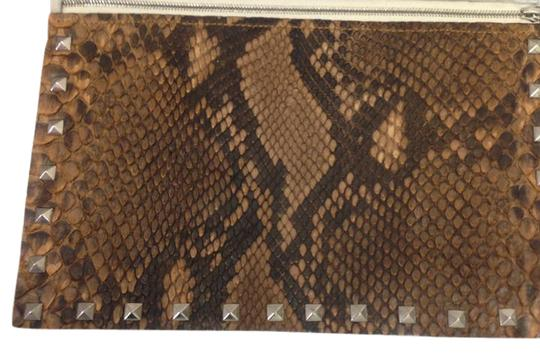 SNAKE PONY HAIR Brown Clutch Image 1