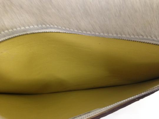 SNAKE PONY HAIR Brown Clutch Image 4