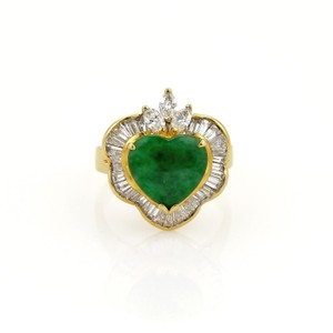 Other Estate 1.50ct Diamond Jade Heart 18k Yellow Gold Fancy Cocktail Ring