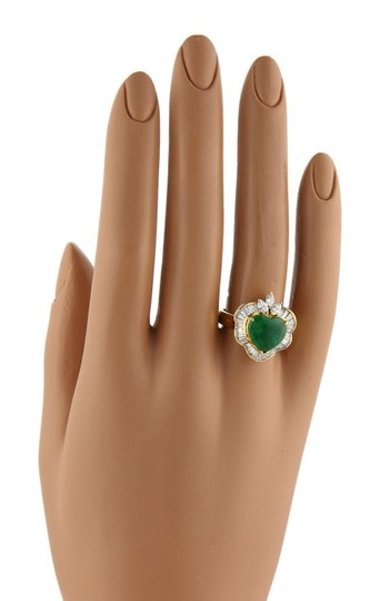 Other Estate 1.50ct Diamond Jade Heart 18k Yellow Gold Fancy Cocktail Ring Image 1