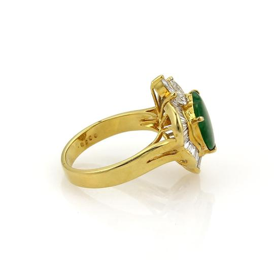 Other Estate 1.50ct Diamond Jade Heart 18k Yellow Gold Fancy Cocktail Ring Image 3