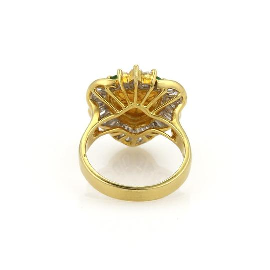 Other Estate 1.50ct Diamond Jade Heart 18k Yellow Gold Fancy Cocktail Ring Image 4