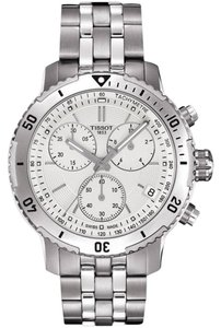 Tissot PRS 200 Silver Dial Stainless Steel Chronograph Men's Watch