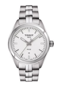 Tissot PR 100 T-Classic Silver Dial Diamond Stainless Steel Ladies Watch