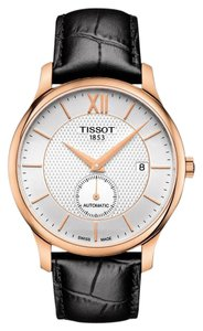 Tissot Tradition Silver Dial Men's Black Leather Watch