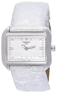 Tissot T-Wave White Dial Silver Leather Ladies Watch T0233091603102