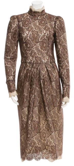 Item - Brown. Multicolor Floral Lace Pattern Long Night Out Dress Size 12 (L)