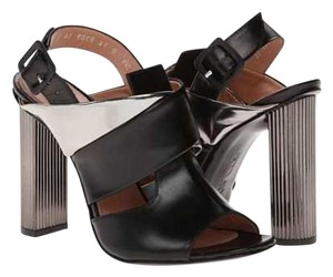 Robert Clergerie High Size 6.5 Black / Silver Metallic leather Sandals - item med img
